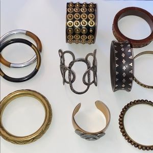 Jewelry - 10 mixed metal and wood bracelets